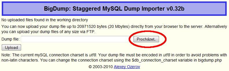 Prvotní spuštění skriptu bigdump.php