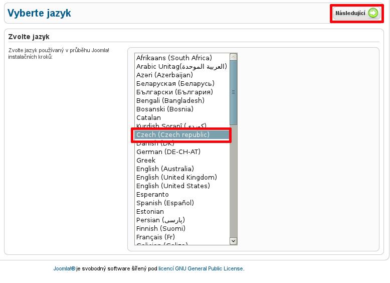 Výběr jazyka instalace Joomla!