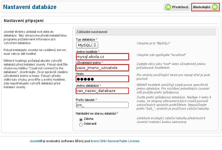 Nastavení databáze v instalaci Joomla!