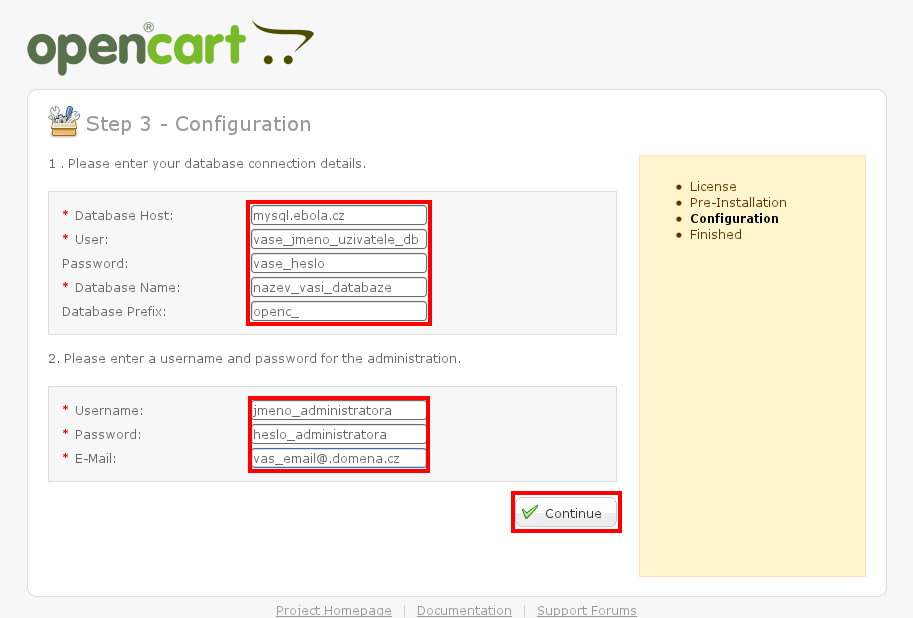 Instalace OpenCart