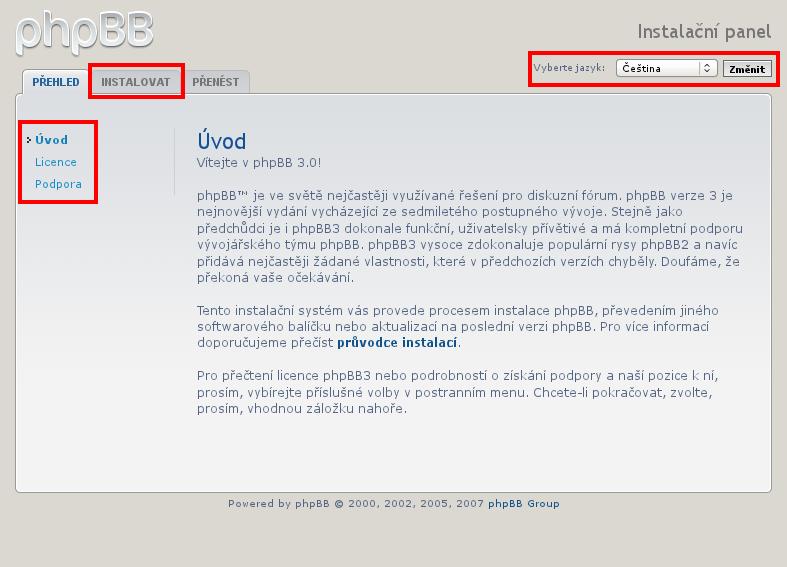 instalace phpBB