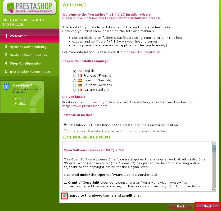Instalace PrestaShop