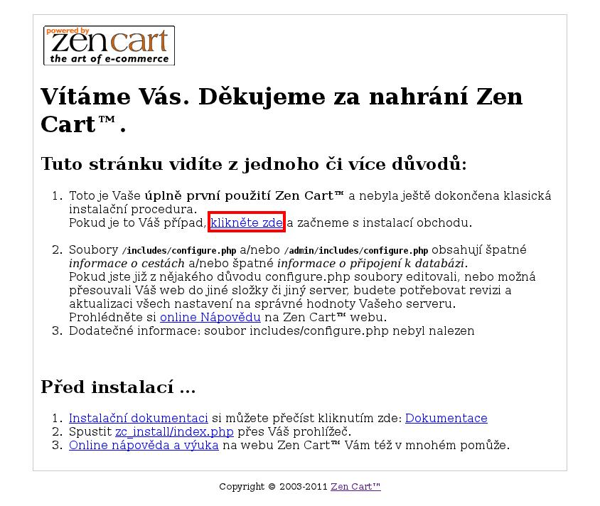 Instalace Zen Cart